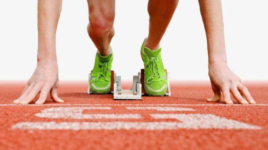 Runner at starting blocks