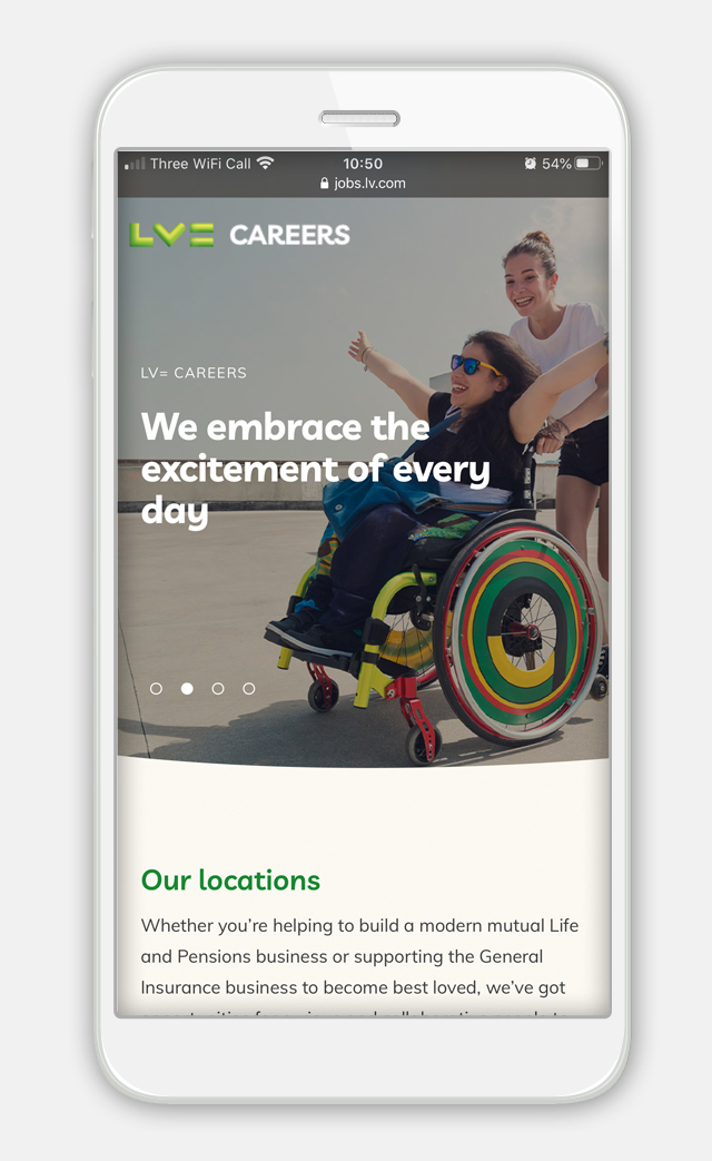 Image of phone with LV= GI careers page on it