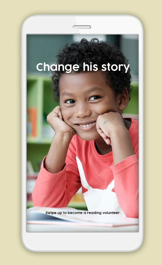 Image of Instagram stories screengrab with boy and 'Change his story'