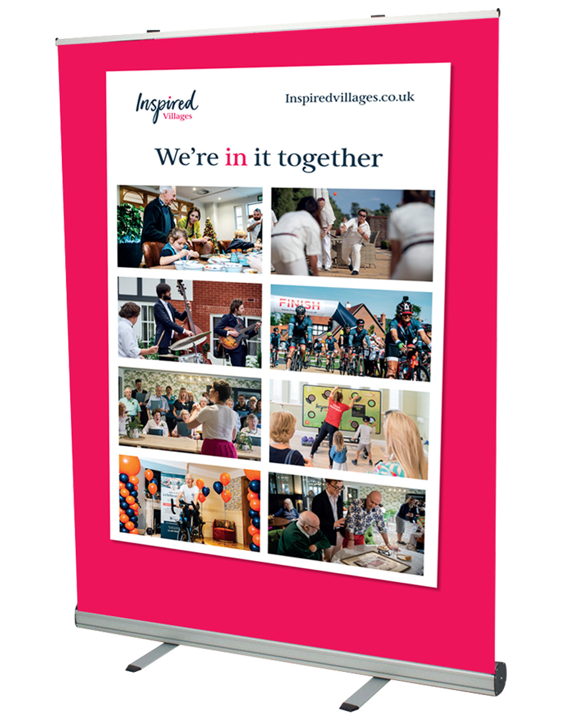 Image of Inspired Villages roadshow pull up banner