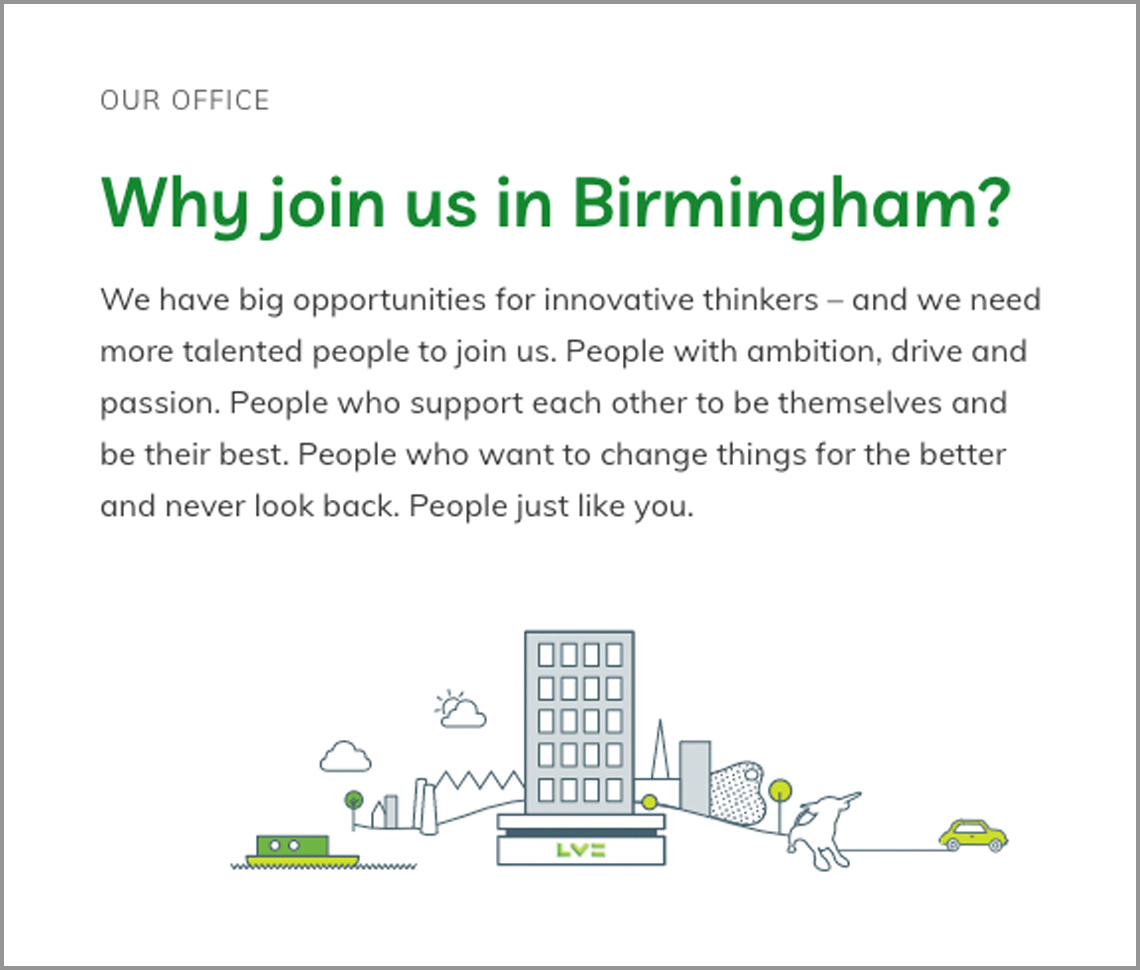 Image of website with title 'Why join us in Birmingham'
