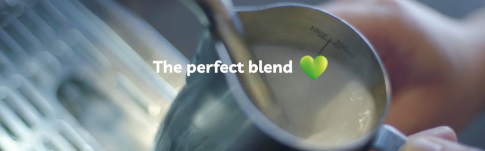 Image of milk frothing from values film with title 'The perfect blend'