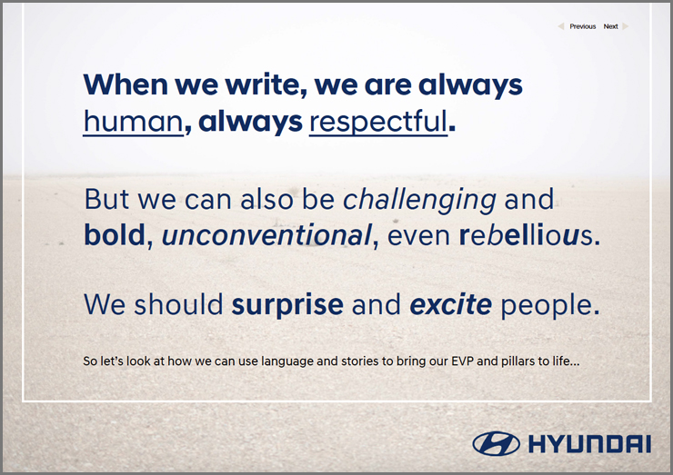 Rules from Tone of Voice document about how to write for Hyundai