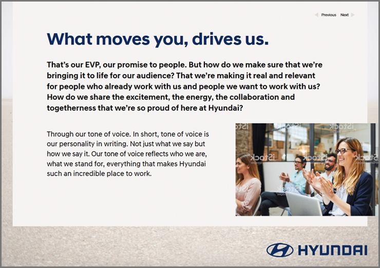 Inside spread of the Hyundai EVP document