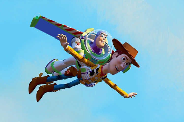 Image of Buzz and Woody Toy Story characters flying